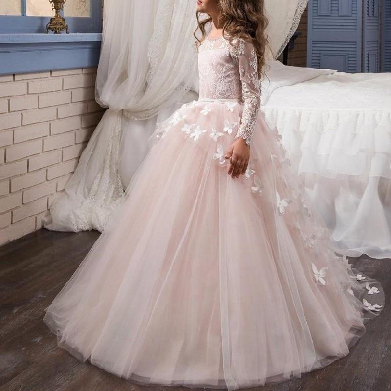 vestido de daminha Pink   Flower     Girl     Dress     Girls   Pageant   Dresses   Full Sleeves vestido daminha   Flower     Girl     Dress   Tulle Butterflies