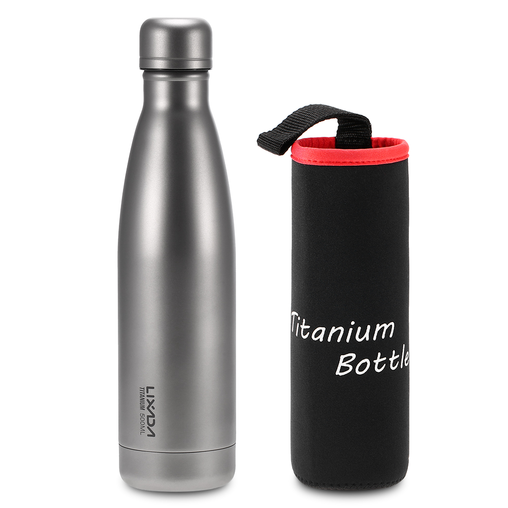Lixada 500ml Titanium Water Bottle Double Walled Vacuum Insulated Outdoor Camping Backpacking Hiking Cycling Tableware