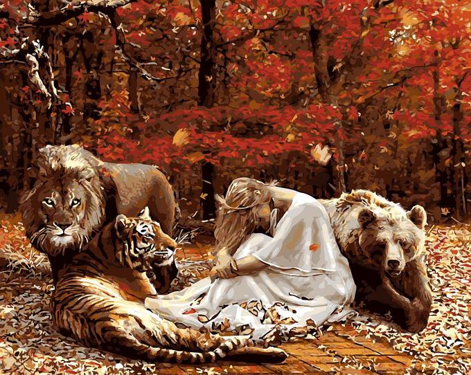 3cc4ef57c Emoldurado pintura diy by numbers pintura a óleo do retrato da parede decor  na lona para a decoração home 4050 leão e tigre e cerveja