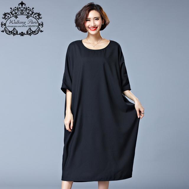 2016 estilo nueva summer dress mujeres de talla grande de algodón camiseta vestidos de Ropa Casual Solid Loose O-cuello de La Manera de Señora de Gran Tamaño Tops