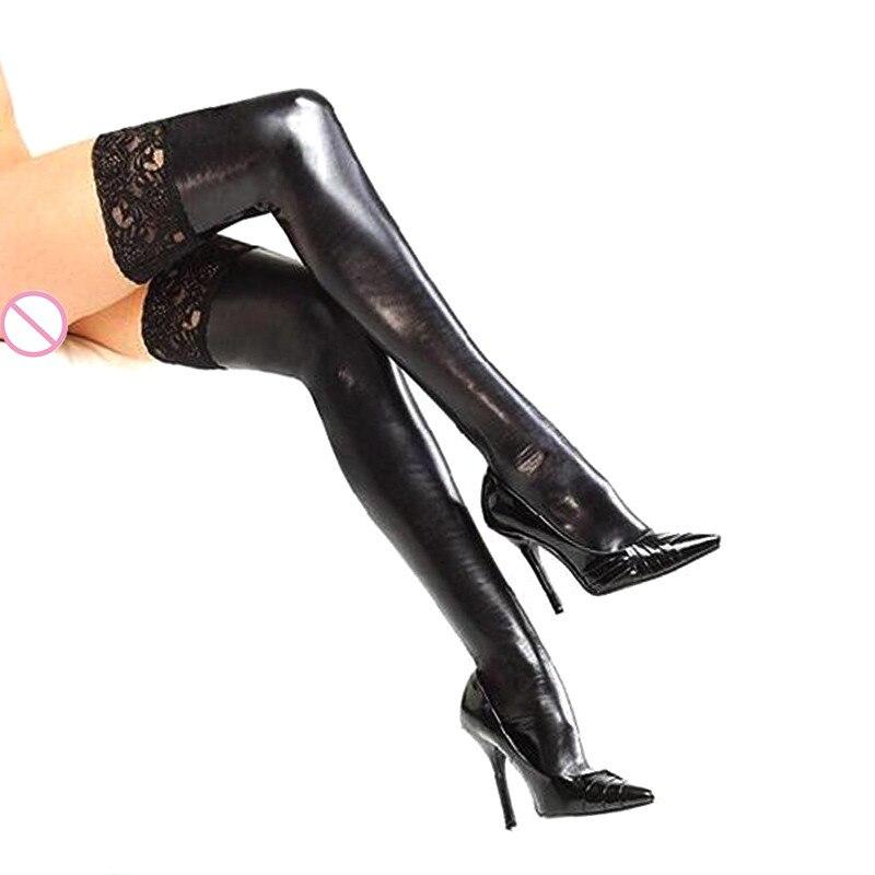 Buy Women Lace Sexy Pu Leather Latex Stockings Pole Dance Black Long Lace Stockings Leather Erotic Clubwear Micro Mini Stocking
