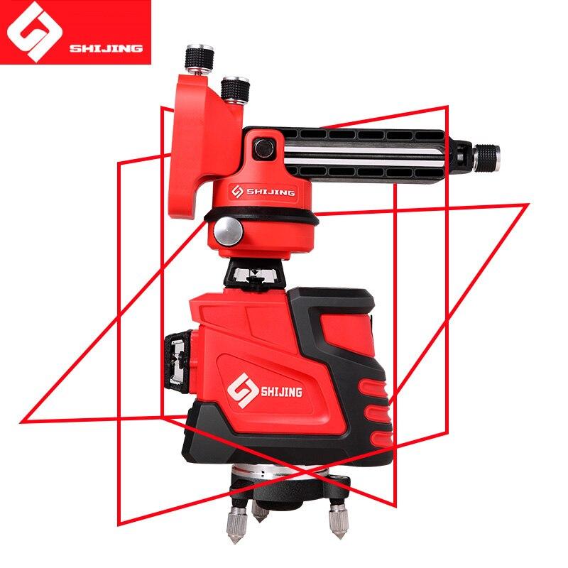 Laser Niveau 12 lignes 3D Auto-Nivellement 360 Horizontal et Vertical Puissant niveau Laser rouge Faisceau SHIJING nivel un laser UE socket
