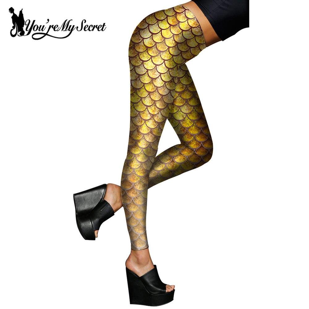 f8b4907d720d5b Du är min hemlighet] Kvinnor Leggings Golden Fish Scale Simulation ...