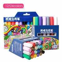 12/24 Colors Acrylic Paint Marker Pen permanent Gold Matellic Marker Pen for Fabric graffiti Glass Ceramic Art Painting Drawing