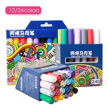 12/24 Colors Acrylic Paint Marker Pen permanent Gold Matellic Marker Pen for Fabric graffiti Glass Ceramic Art Painting Drawing(China)