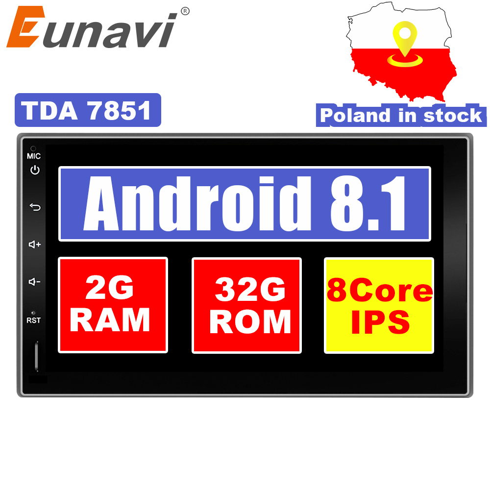 "Eunavi 7"" in dash 2 Din 1024*600 HD Android 7.1 8.1 Car Tap PC Tablet 2din Universal GPS Navigation Radio Stereo Audio Player"