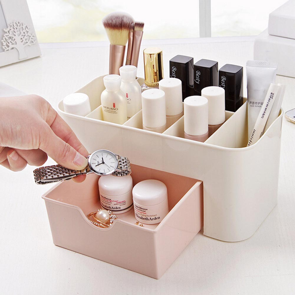 New Cosmetic Jewelry Organizer Office Storage Drawer Makeup Case Plastic Makeup Brush Box Lipstick Remote Control Holder Gift