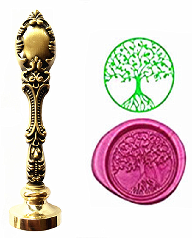 Tree of Life Vintage Wax Seal Stamps Kit Wedding Invitation Sealing Stamps Custom Logo Luxury Gift lace fower vintage wedding invitations laser cut blank paper pattern printing invitation card kit ribbons decorations
