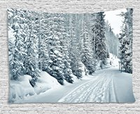 Winter Tapestry Ski Themed Snowy Road Cold Parts Of The World Footprints Colorado United States For