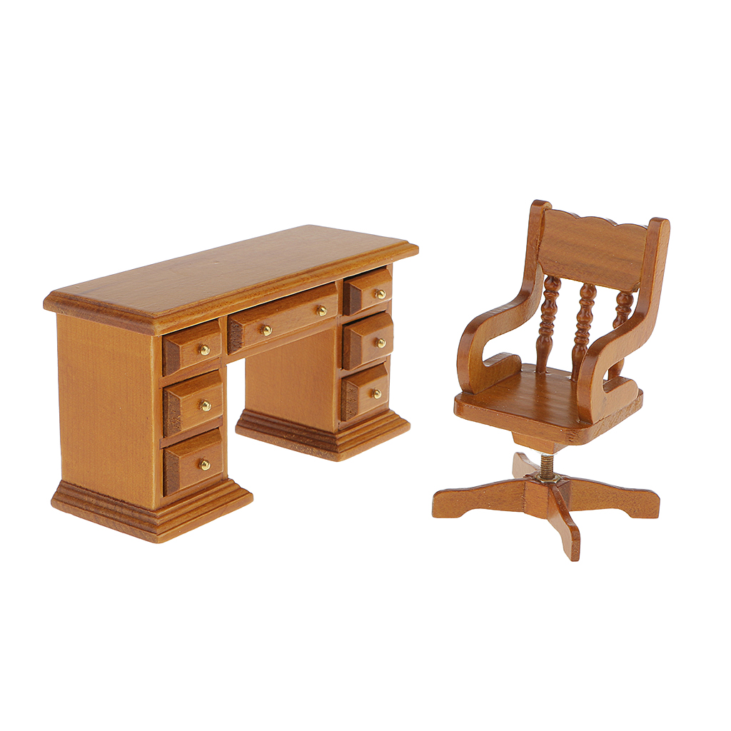 High Quality Dollhouse Miniature Furniture 1 12 Scale Wooden Table font b Chair b font font