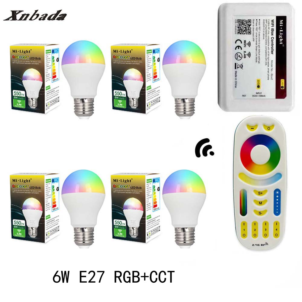 MiLight Led Lamp 6W E27 RGB+CCT Led Bulb+RGBWW Remote+IBX2 RF Remote Wifi Led Spotlight light Led light AC85-265V Free Shipping keyshare dual bulb night vision led light kit for remote control drones