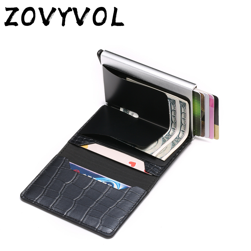 Aluminum Wallet  Metal Credit Card Holder Automatic Elastic Vintage PU Leather Antitheft Rfid Blocking Wallet Pass Port Holder