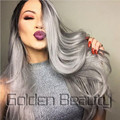 Golden Beauty 24 inch Ombre Grey Wavy Synthetic Wig Synthetic Lace Front Wig Synthetic Wigs for Black Women