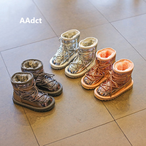 Image 2 - Aadct冬毛皮暖かい女の子ブーツファッション王女新雪のためのスパンコール綿子供靴ブランド2019
