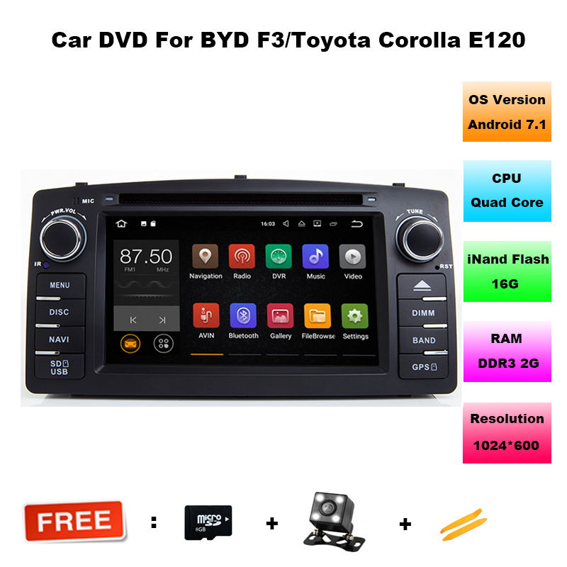 For Toyota Corolla E120 BYD F3 Android 7.1 Quad core RAM 2G 7851 IC 2Din Car DVD stereo GPS with touch screen WIFI Car radio