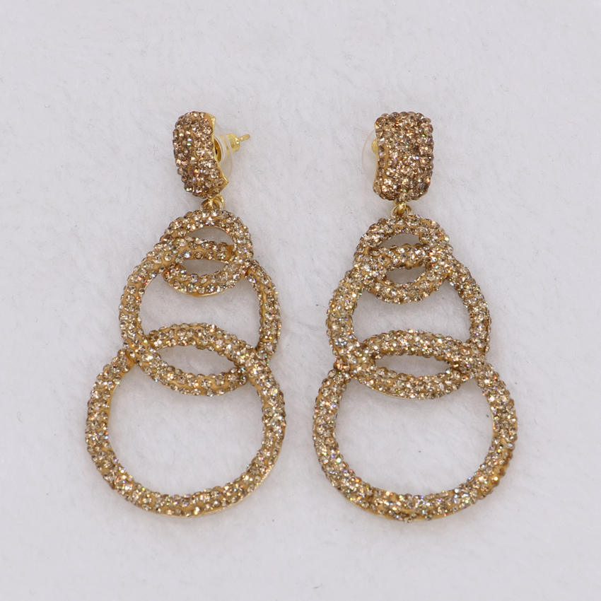 3 Circle Earrings Golden Color Cz Whole Price Druzy Dangle Drop Gems Stone Jewelry 1428 In From
