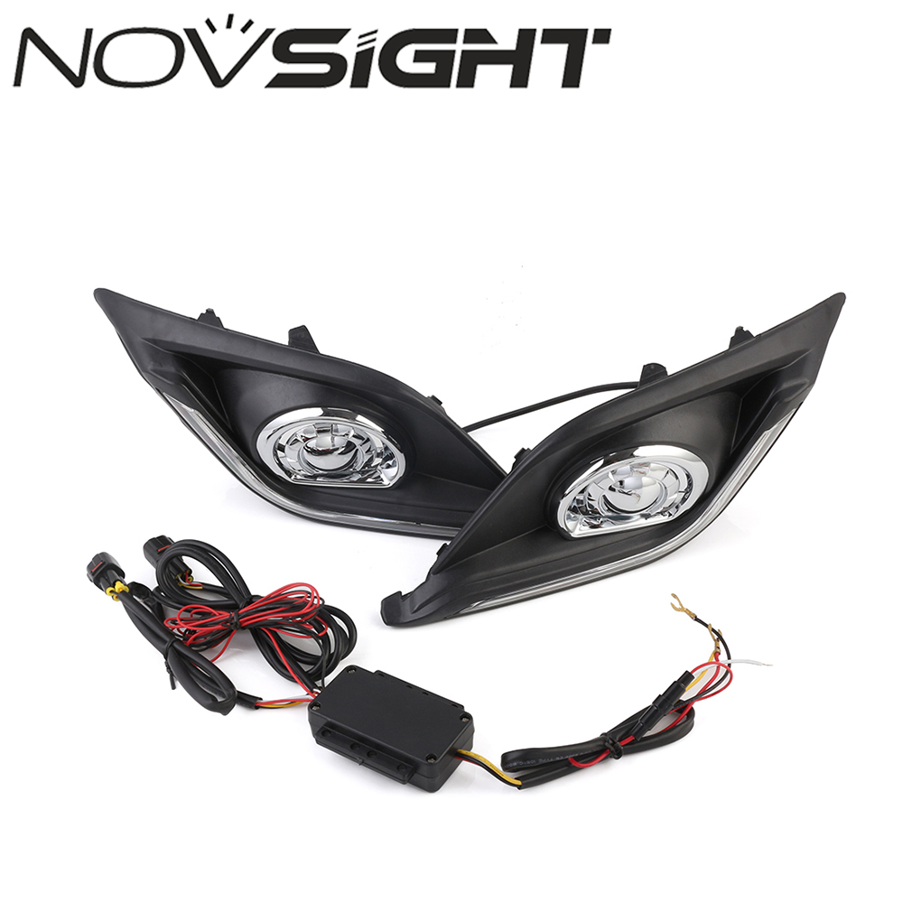 NOVSIGHT Car LED Driving Daytime Running Light Fog Lamp Turn Signal For Mazda3 Axela 13-16 15 White Day Light Free Shipping new arrival a pair 10w pure white 5630 3 smd led eagle eye lamp car back up daytime running fog light bulb 120lumen 18mm dc12v