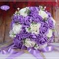 Ramo de la boda Hermosa Hecha A Mano de Flores Artificiales Decorativas Flores Color de Rosa Detalles de Encaje de Perlas Nupcial de La Novia Ramos de Novia