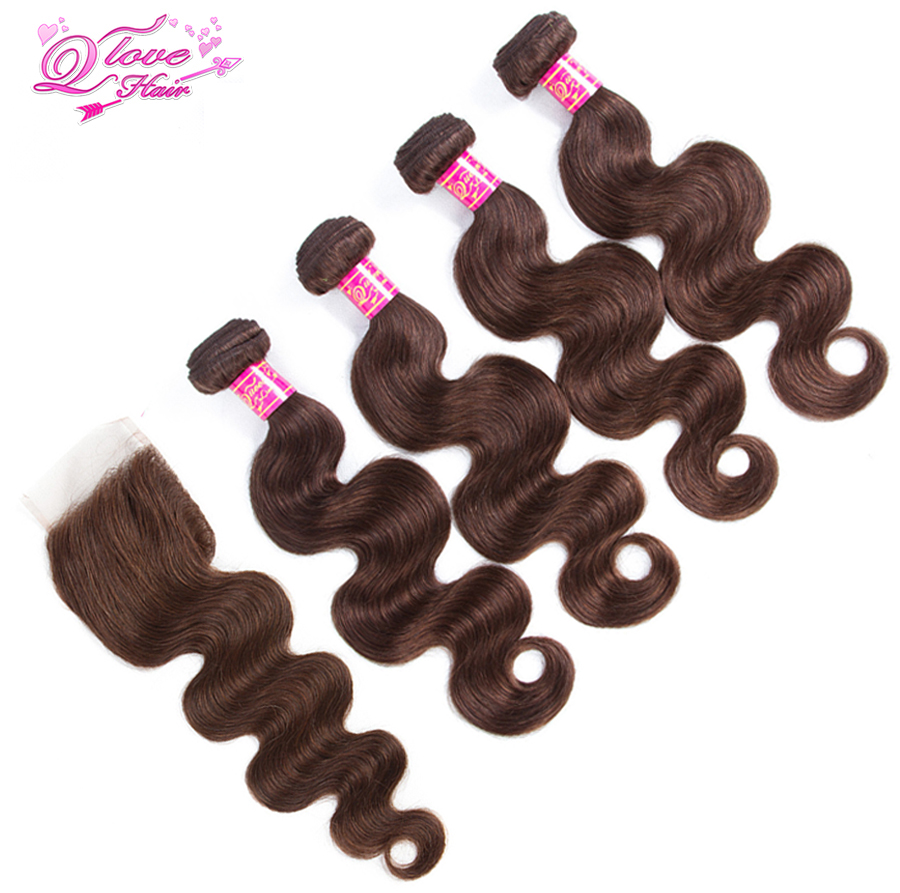Queen Love Hair Pre-Colored 4 Bundles With Closure Brazilian Hair Non Remy Body Wave 100% Human Hair Extensions