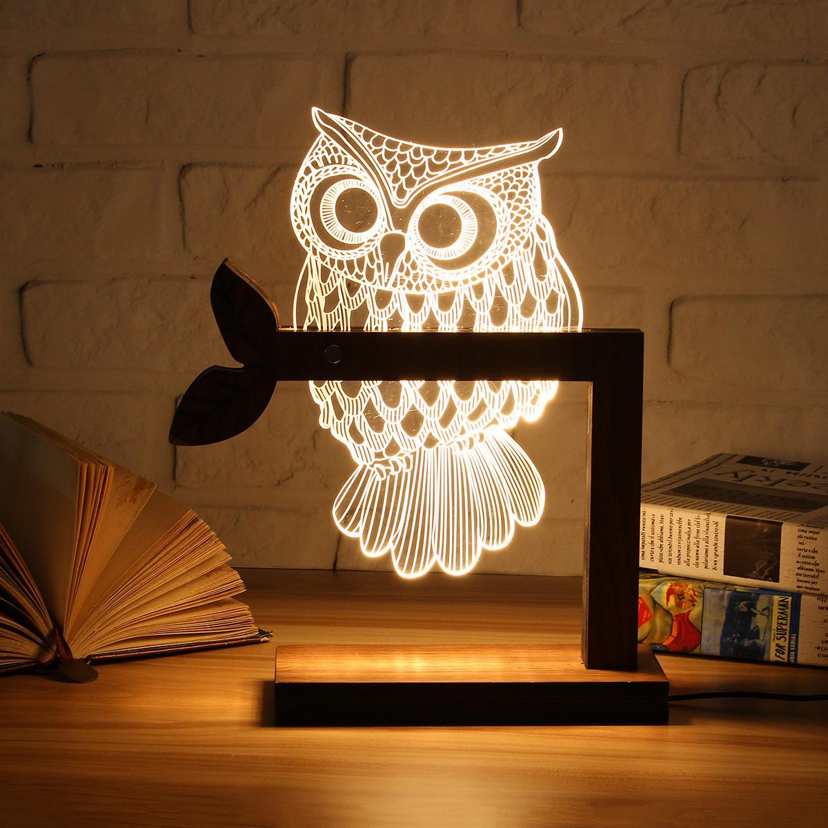 USB di legno 3D LED Farfalla Animale GUFO di Notte Calda Tavolo Lampade di Illuminazione Camera Da Letto Home Decor Regalo Di Compleanno