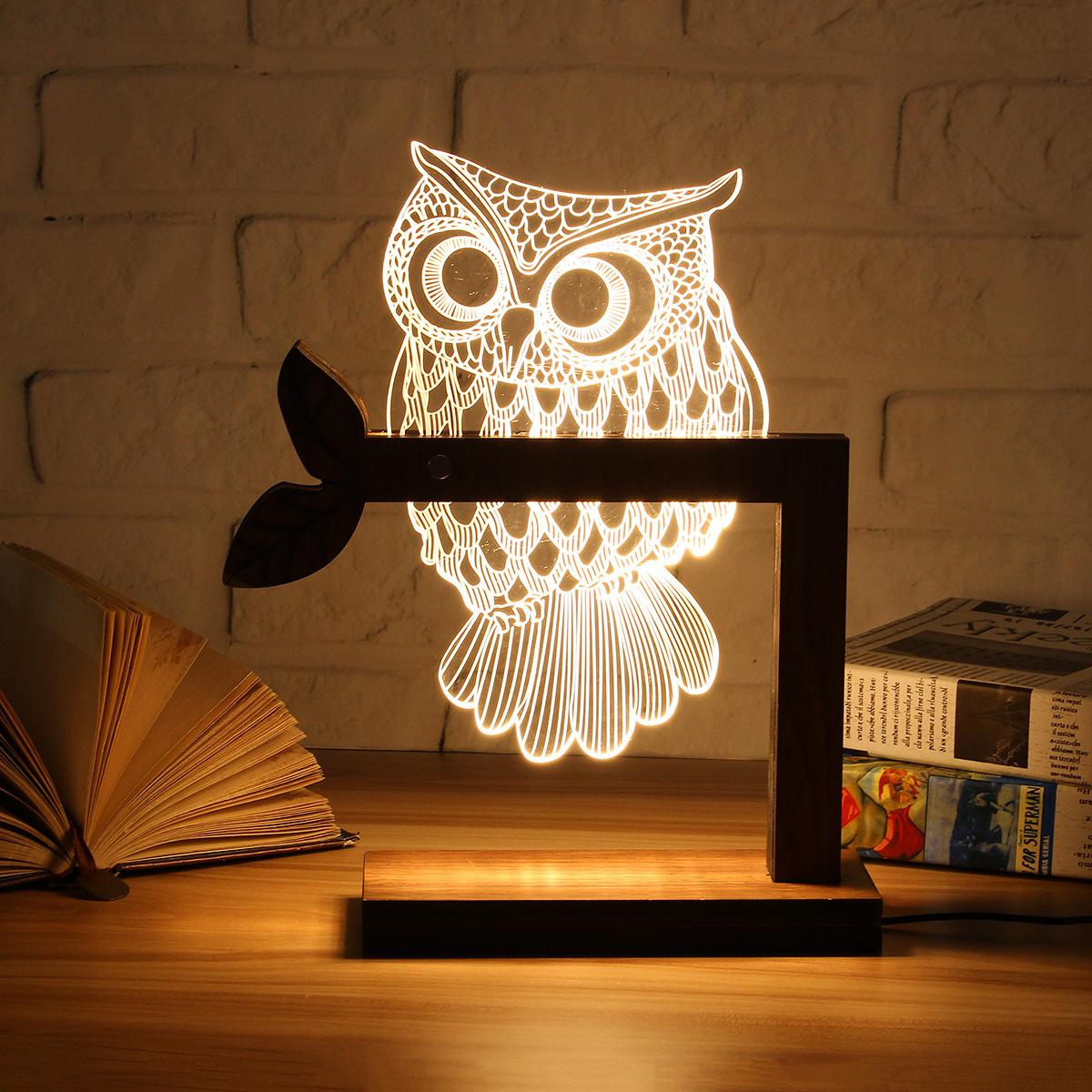 Wooden USB 3D LED Animal Butterfly OWL Night Light Warm Lighting Table Reading Lamps Bedroom Home Decor Birthday Gift adjustable owl shaped 3d wooden stand lamp night light bedroom table desk lamp warm white lighting plug connector home decor