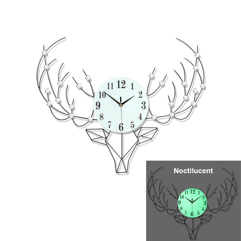 Nordique rétro cerf horloge murale minimaliste lueur montre salon chambre horloges murales luminova scandinave décor à la maison accessoires