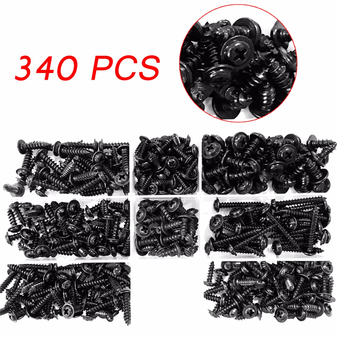 340pcs/set Head Self Tapping Screw Hex Head Socket Screw Bolt Carbon Steel Screws Assortment Kit Fastener Hardware t k excellent 2000 pcs fibreboard screws kit flat head q1022 cks head pozi chipboard hardware fastener tools home decoration