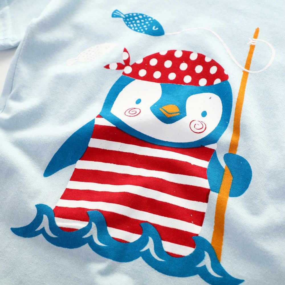 Merk Katoenen Baby Sets Pasgeboren Baby Baby Jongens Meisjes Cartoon Pinguïn Tops Shirt + Broek Outfits Set roupa infantil Hot koop #06