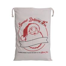 Hot Sale 1pc Santa Sacks Drawstring Canvas Sack Large Vintage Christmas Gift Bag Dropshipping for 2018 New Year