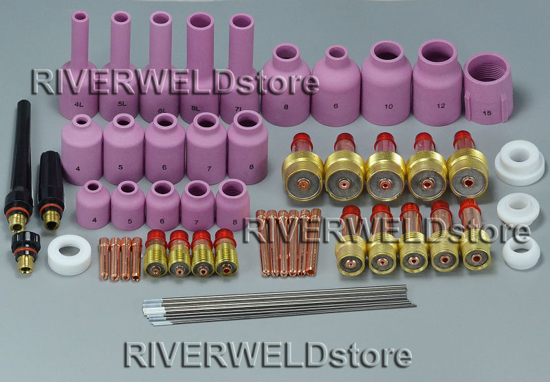 TIG Welding Gas Lens KIT & TIG Stubby Gas Lens Collets Alumina Nozzles Kit Fit For SR WP 17 18 26 TIG Welding Torch 48 pcs tig welding kit gas lens for tig welding torch wp 9 wp 20 wp 25 wz8 3 32