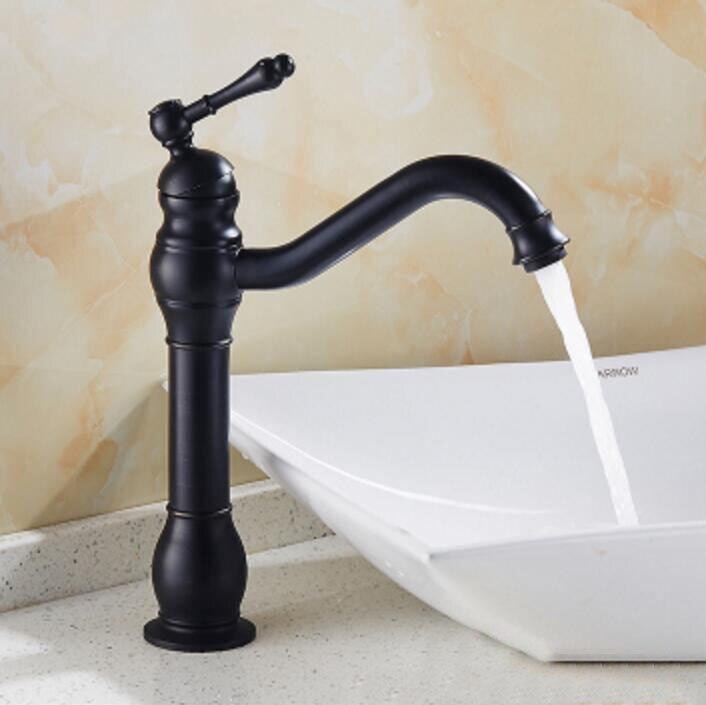Antique Brass Retro Bathroom Basin Sink Mixer Taps Deck Mounted Single Holder Swivel Spout Black Faucet solid brass antique brass bathroom basin faucet swivel spout wall mounted mixer