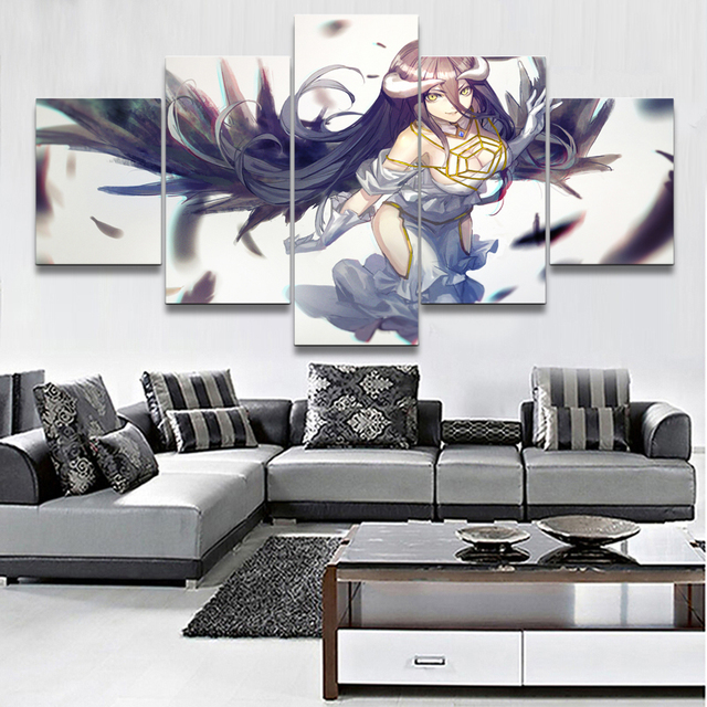 Modular Pictures For Girls Berdoom Wall Art 5 Pieces Anime Overlord Albedo Painting Home Decor Canvas HD Print Poster Framework