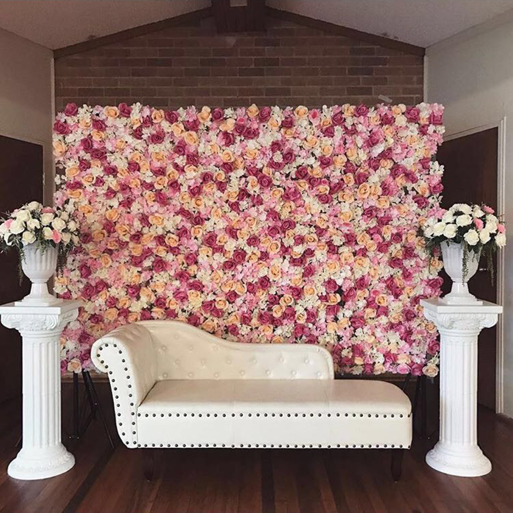 Hot sale 4pcs/lot pink champagne  flower backdrop flower wall wedding backdrop