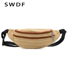 SWDF New Waist Bags Women Designer Fanny Pack Straw Fashion Belt Banana Bag High Quality Female Purse Womens Holographic Heuptas