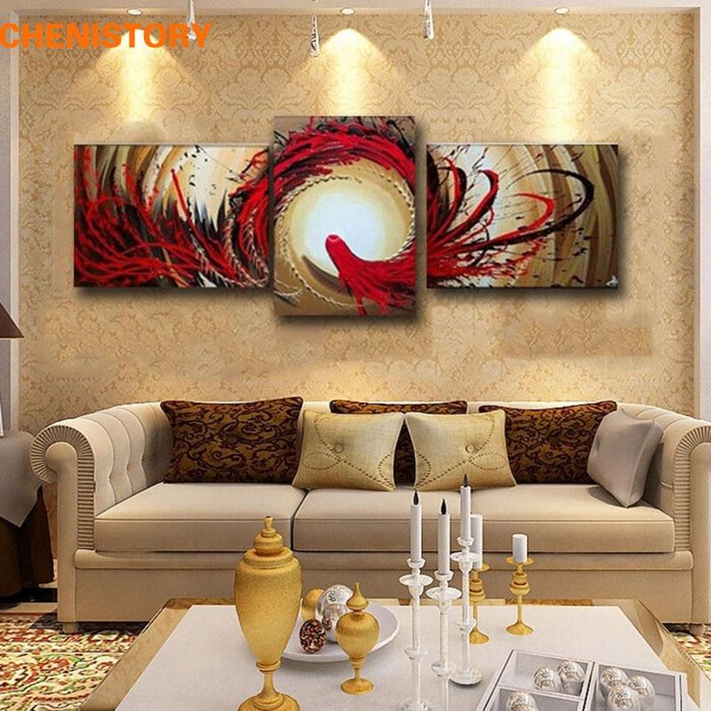 Без рамы, 3 панели, красно-черная Летающая птичка, ручная работа, абстрактный современный настенный Декор, картина маслом на холсте для гости...