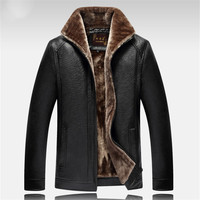 New Autumn and winter quality men's leather jacket warm business casual PU leather jacket plus velvet Thick Warm Jacket parka
