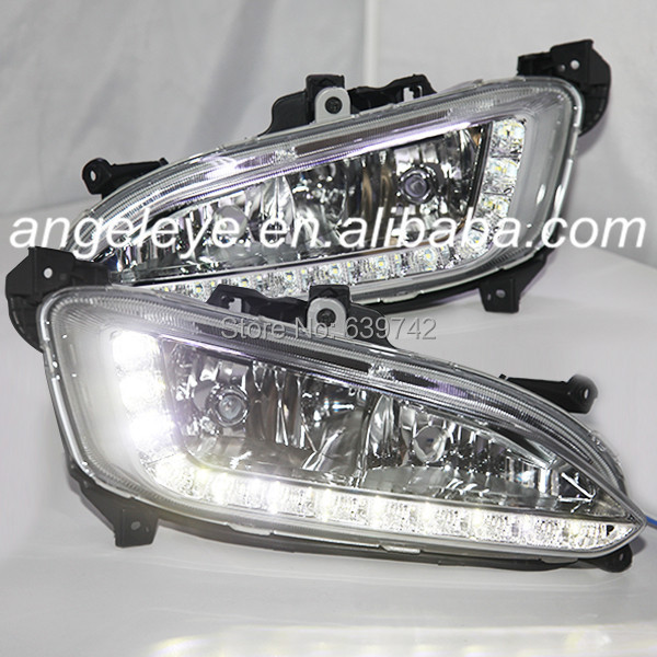FOR HYUNDAI 2013 TO 2014 Year IX45 LED fog lights New Santa Fe 12  LEDs DRL Daytime Running Light Chrome Hosuing