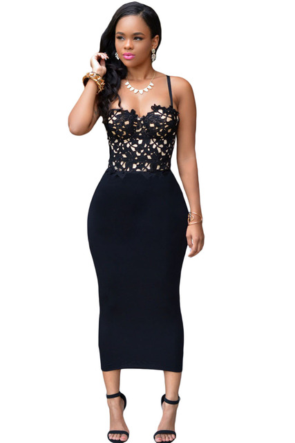 1f3e4a2fa570 women Night Club Shoulder spaghetti Strap Mid-Calf slimming graduation  ceremony party Bustier Lace Top Black Bodycon Dress 60940