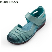 RUSHIMAN 2018 New Style Handmade Genuine Leather flat Shoes Summer Sandals Women Casual Solid Hollow Out Flat Women Sandals