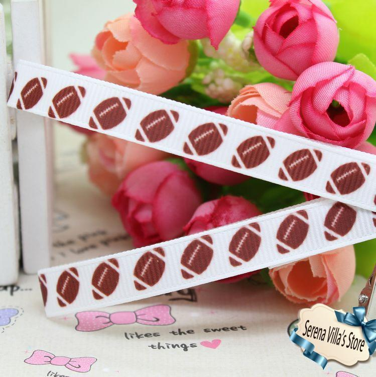 3/8 Football Sport Printed Grosgrain Ribbon Hairbow Diy Party Decoration baby ribbon bows cheap hot sale girl accessories
