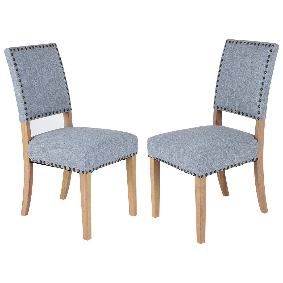 где купить Giantex Set of 2pcs Fabric Dining Chairs with Rubber Wood Legs Home Kitchen Furniture Modern Rivets Leisure Chairs HW56716 по лучшей цене