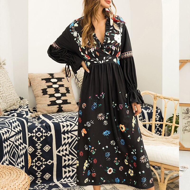 Vintage Reposo robe d'été 2019 Empire V noir Floral femmes robe Fit et Flare Festa Midi robe papillon manches