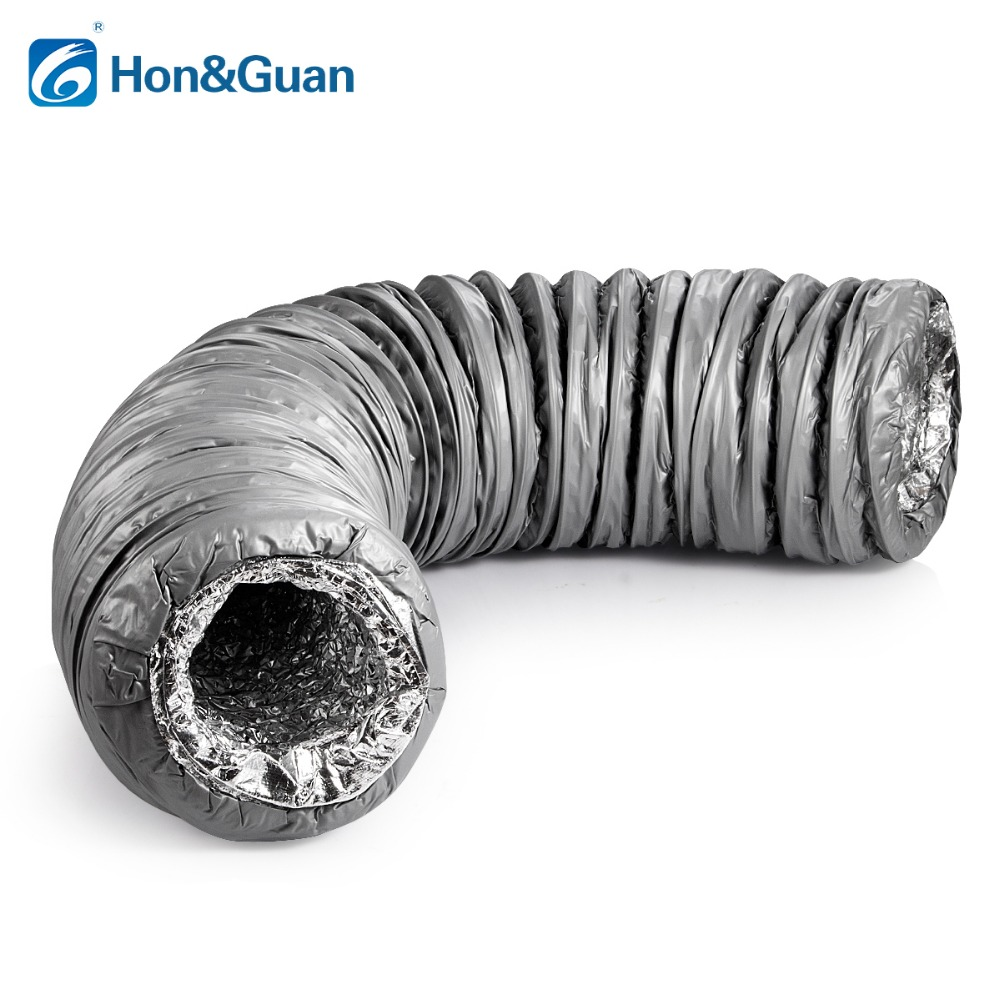 Hon&Guan 4''~8'' Duct Silencer Low Noise Flexible Ventilation Hose Insulated Aluminum Air Duct for Air Conditioner, Length 1.2m
