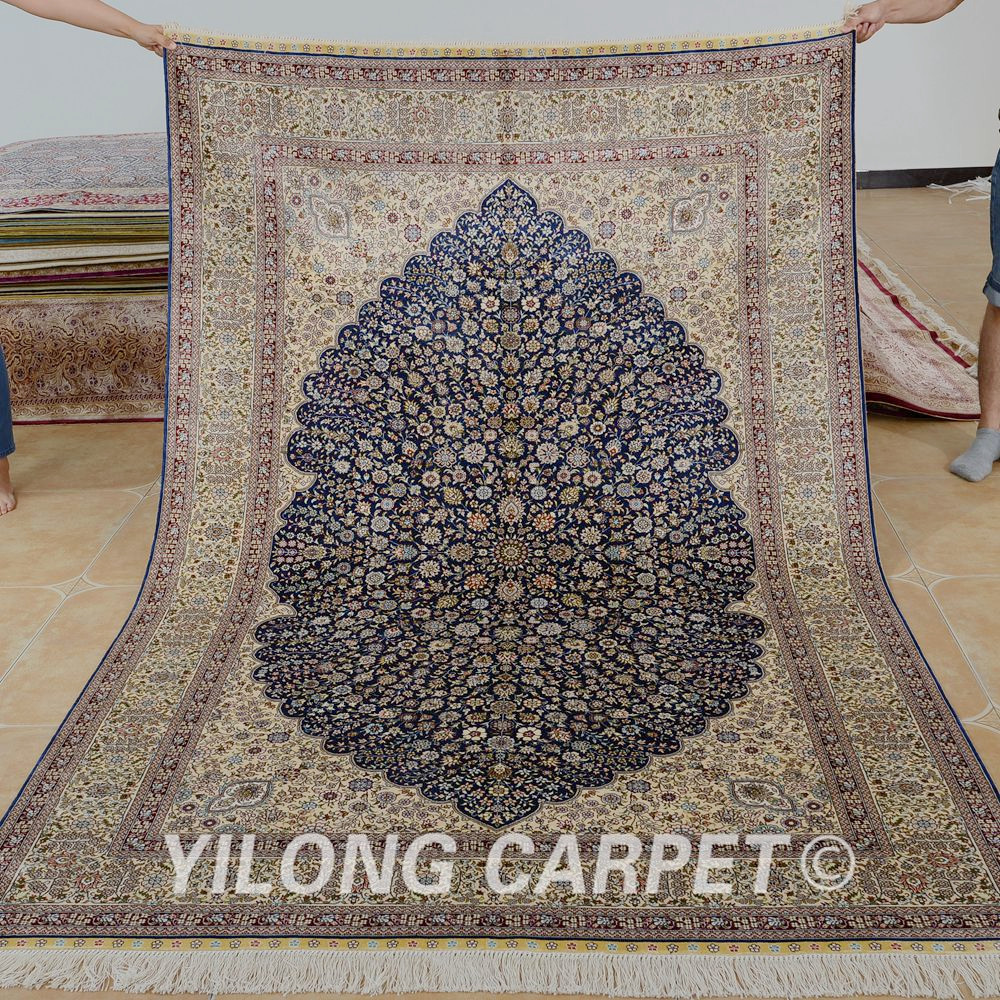Yilong 5u0027x8u0027 Old Persian Carpet Black Vantage Hand Knotted Oriental Rug  Sales (1031)