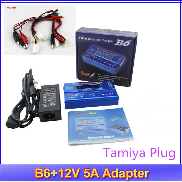 IMax B6 free shipping Digital LCD Lipo NiMh battery Balance Charger Tamiya Plug + Power Adapter 12V 5A  no original box ocday 1set imax b6 lipo nimh li ion ni cd rc battery balance digital charger discharger new sale