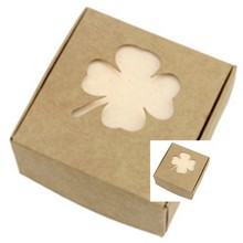 6.5*6.5*3cm 5pcs/lot Clover pattern soap cake Packing box DIY Wedding Gift Favor Boxes,customized Single Cake Box Packaging
