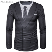 Fake Suit 3D Printing T Shirt Men 2017 Spring New O Neck Tee Shirt Homme Harajuku