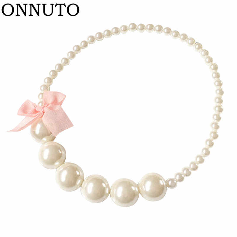 Classic Lace Bowknot Imitation Pearls Chain Necklaces for Kids Baby Girls Princess Dress Accessories Charm Jewelry Gift