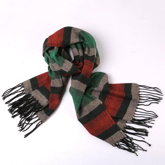 Thick design striped Tassel luxury brand Shawls winter men women scarf Soft Cashmere Plaid Warm in Winter Oversized Fashion