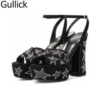 Summer Newest Black Suede Peep Toe Platform Sandal Sexy Rivets Studded Stars Ankle Buckle Strap Sandal Thick Heels Shoes